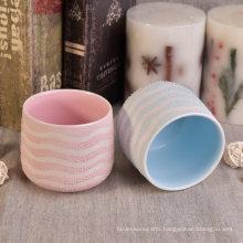 15oz Wave Blue Coating Decorative Ceramic Candle Jars