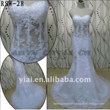 RSW-28 2011 Hot Sell New Design Ladies Fashionable Elegant Customized Beautiful Transparent Boned Body Mermaid Bridal Dress