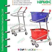 2 Tiers Double Baskets Trolley For Supermarkets