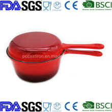 Enamel Cast Iron Combo Cooker Saucepan with Double Use Skillet Lid