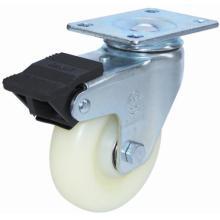 Roulette pivotante en nylon avec double frein (blanc)