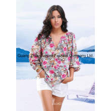 Women Woven Rose Print Long Sleeves V Necked Blouse Wholesale China OEM