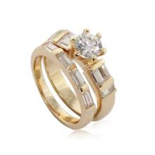Ebay china website aço inoxidável mulheres zircon anel de ouro