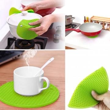 Kaca Cup Mat Silicone Round Green Coaster