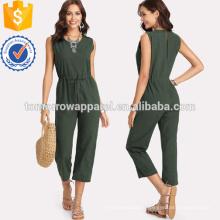 Талия зеленый шнурок сплошной комбинезон ОЕМ/ODM Производство Оптовая продажа женской одежды (TA7001J)