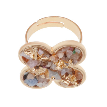 18k Gold Color Natural Flower Drusy Crystal Rings