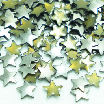 Iron On Flat Star Studs Dull Nickle