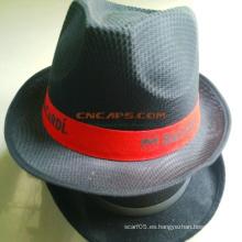 Sombrero personalizado de Fedora de poliéster con cinta para la publicidad
