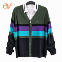 100%Cotton 12gg Knitted Cardigan Sweater For Men