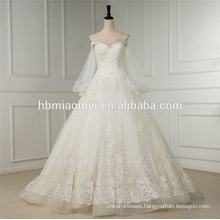 Long sleeve A line wedding dress short front long back white swwet heart neck sexy wedding dress 2016 lace