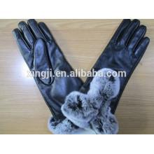 guantes de piel de oveja de moda de calidad superior con piel de conejo para regalo
