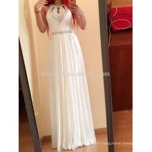 A-line Elegant Jewel Chiffon Evening Dresses Floor Length Gorgeous Beaded Sequined Chiffon Prom Dresses Long Top Quality 2016