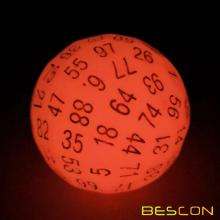Bescon Glowing Polyhedral 100 Sides Dice Cerise Red, Luminous D100 Dice, 100 Sided Cube, Glow in Dark D100 Game Dice