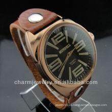Regalo de la moda de la pareja amante de regalo de cuero genuino correa reloj de pulsera de cuarzo WL-027