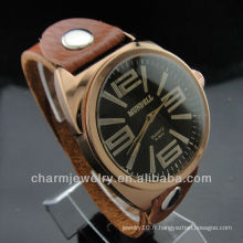 Lover's Couple's Fashion Gift Bracelet en cuir véritable Quartz Wrist Watch WL-027