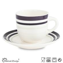 8oz Ceramic Cup and Saucer with Simple Elegant Design