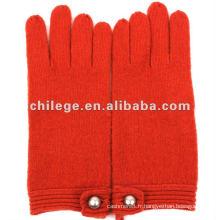 Gants tricotés / moufles 100% laine femme avec boucle de décoration