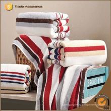 Toalha de banho de alta qualidade personalizado por atacado tricô stripe toalha de banho de algodão 100%