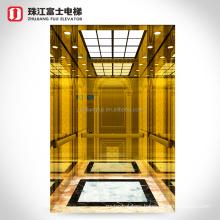 Fuji Cabin Lift Hotel Elevator Titanium Japan Passenger Elevators VVVF Elevator Control System Hairline Stainless Steel
