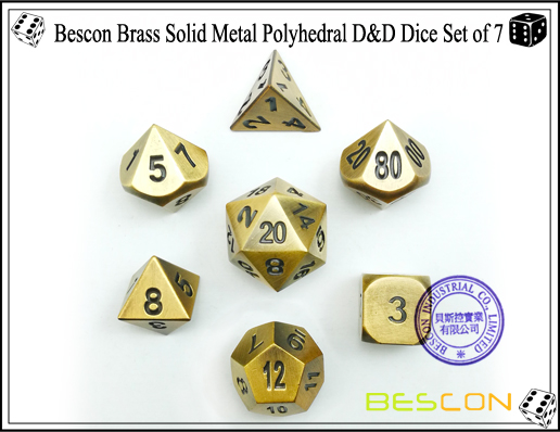 Bescon Brass Solid Metal Polyhedral D&D Dice Set of 7-1