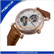 Reloj mecánico esqueleto de alta calidad con correa de cuero genuino