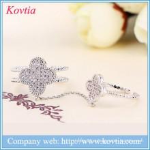Sliver dupla junta anel de cristal trevo anéis cz anel de diamante aberto