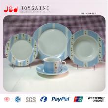 Plaque de dîner de conception de plat de salade de porcelaine d'impression de main de 16PCS simple