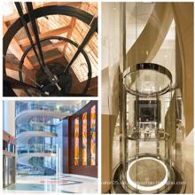 Ti-Gold halbkreisförmige Luxus-Shopping-Mall Sightseeing-Aufzug