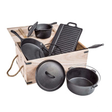7-Piece Cast Iron Camping Pot Cookware Set with Wooden Box