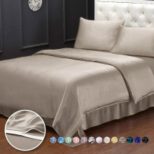 3pc Silk Duvet Cover Flat Fitted Sheet Pillowcases