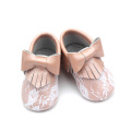 Weiche Sohle Lace Cute Baby Leder Mokassins Bowknot