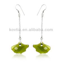 Newest design 925 sterling silver chain earrings crystal pendant earrings