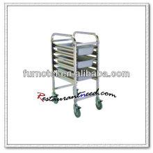 S077 Montagem Standard Single Side Stainless Steel GN Pan Trolley