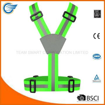 Correa de advertencia de chaleco fluorescente ajustable para el ciclismo
