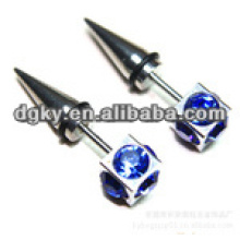 Novo estilo azul diamante cirúrgico de aço orelha piercing jóias