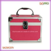 Cas de vanité en plastique de cas rose articulé de couleur de solide de couleur (SACMC079)