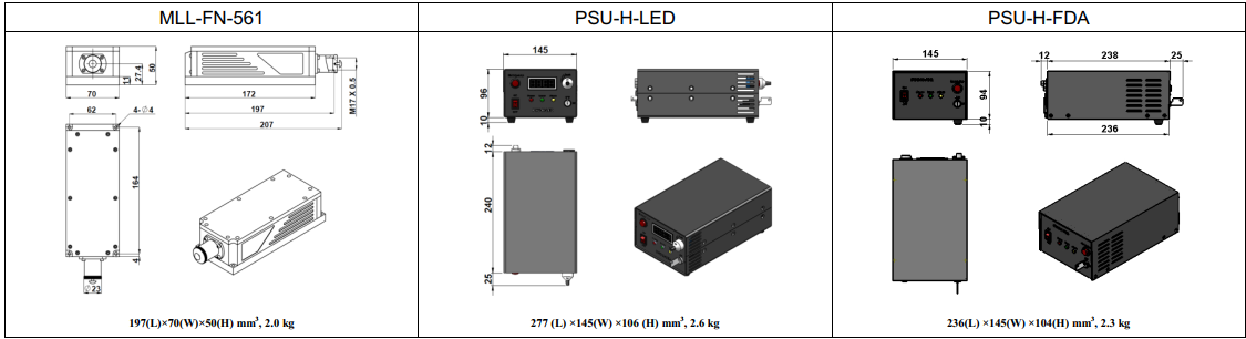 dimensions of 561nm low noise laser