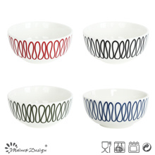 13cm Porcelain Bowl with Creative Lines Decal Printing