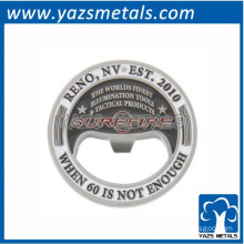 engrave with color fill metal round bottle opener