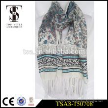 Bufanda cómoda de la sensación de seda de la bufanda llana 100% del poliester de la sensación con la borla larga