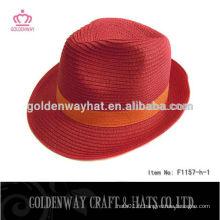 Nouveau design papier chapeau fedora rouge pour femmes