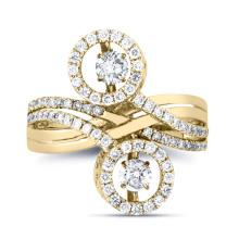 Art- und Weiseschmucksachen 925 silberne doppelte Tanzen-Diamant-Ring-Schmucksachen