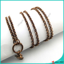 Chocolate Colour aço inoxidável Locket Chain Necklace Atacado (FN16041803)