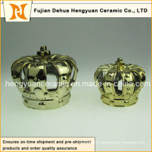 Surface Plating Ceramic Crown Candle Holders