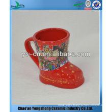 M057 Red Color Ceramic Foot Shape Mugs For Christmas Market
