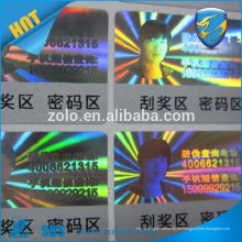 Glossy Waterpoof personalizado holograma rascarse de pegatinas con función anti-falsa