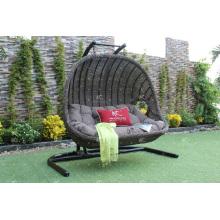 Nuevo diseño de moda Poly Rattan asientos dobles Swing silla o hamaca para jardín al aire libre Muebles de mimbre patio