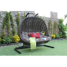 New Trendy Design Poly Rattan Double Seats Swing Chair or Hammock For Outdoor Garden Patio Wicker Furniture