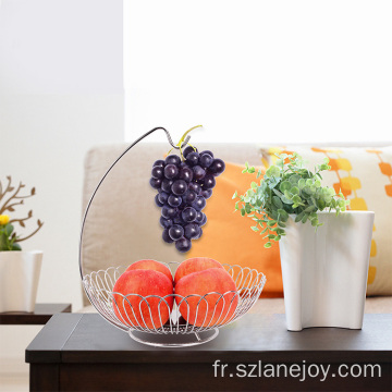 Economic wire 2 tier hanging fruit basket kitchen stainless steel colander storage fruit and vegetable basket