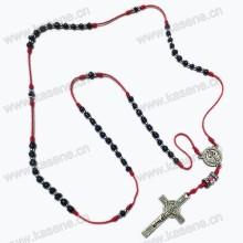 Кристиан мини-бусины узел розария ожерелье, религиозные стекла розария с распятие подвеска